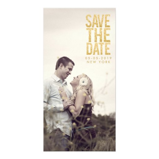 Gold Glitter Save the Date Typography Photo Cards