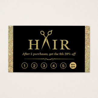 Gold Glitter Scissors Hair Salon Loyalty Punch Business Card