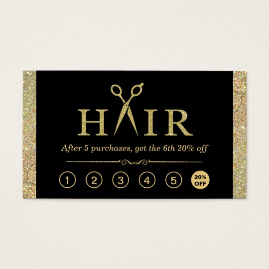 Gold Glitter Scissors Hair Salon Loyalty Punch Business