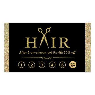 Gold Glitter Scissors Hair Salon Loyalty Punch Pack Of Standard Business Cards