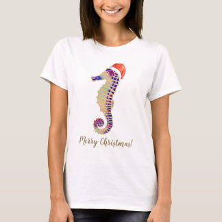 Gold Glitter Seahorse Santa Merry Christmas T-Shirt
