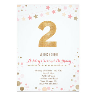 Gold Glitter Second Birthday Invitation