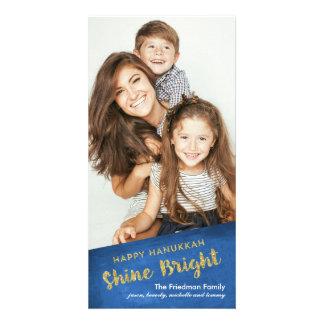 Gold Glitter Shine Bright Happy Hanukkah Picture Card