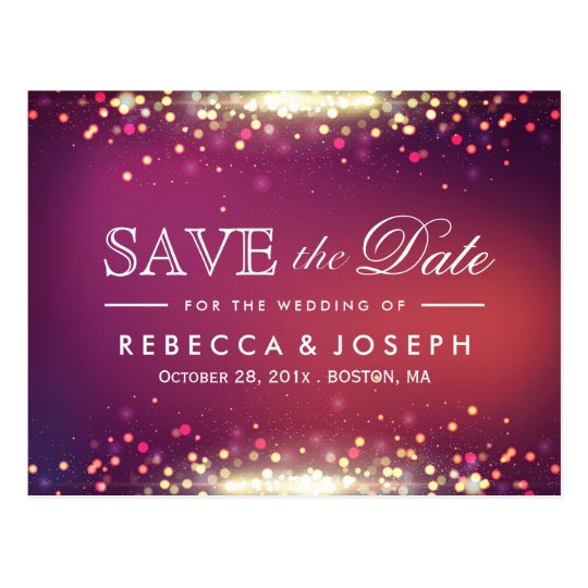 Gold Glitter Shiny Sparkle Lights Save the Date