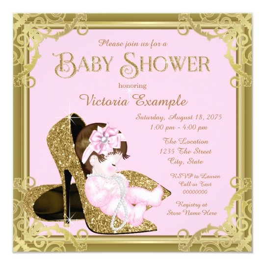 Gold Glitter Shoe Pink and Gold Baby Shower