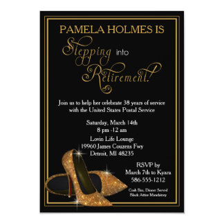 Gold Glitter Shoes Retirement Party 13 Cm X 18 Cm Invitation Card
