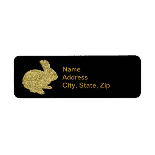Gold Glitter Silhouette Easter Bunny Address Label