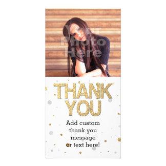 Gold Glitter Silver Foil Print Confetti Thank You Personalized Photo Card