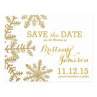 Gold Glitter Snowflakes Winter Save the Date Postcard