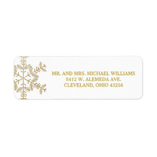 Gold Glitter Snowflakes Winter Wedding Labels