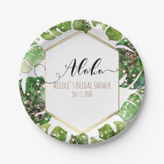 Gold Glitter Sparkle Glam Tropical Leaves Wedding 7 Inch Paper Plate