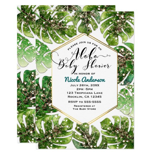 Gold Glitter Sparkle Tropical Leaves Baby Shower Card