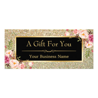 Gold Glitter Sparkles Floral Gift Certificate Card Personalised Rack Card
