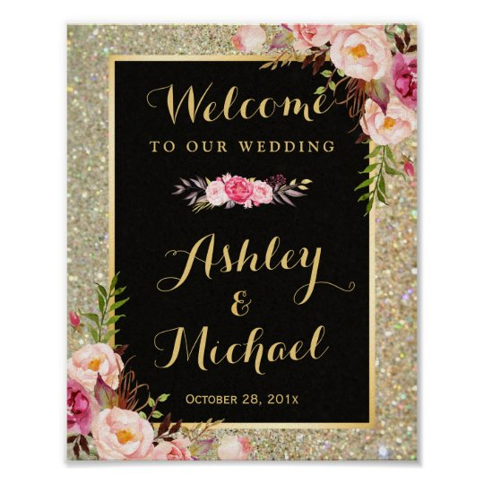 Gold Glitter Sparkles Floral Wedding Welcome Sign