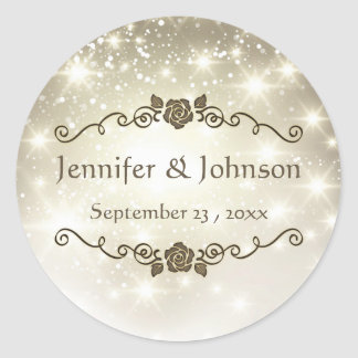 Gold Glitter Sparkles Wedding Classic Round Sticker
