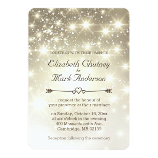 Gold Glitter Sparkles Wedding Personalized Announcements