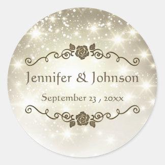 Gold Glitter Sparkles Wedding Stickers