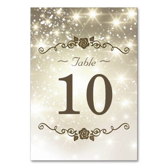 Gold Glitter Sparkles - Wedding Table Number Card