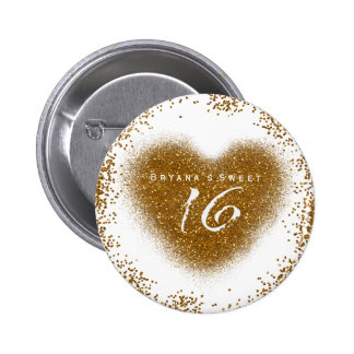 Gold Glitter Spill Sweet 16 Birthday Party Pin