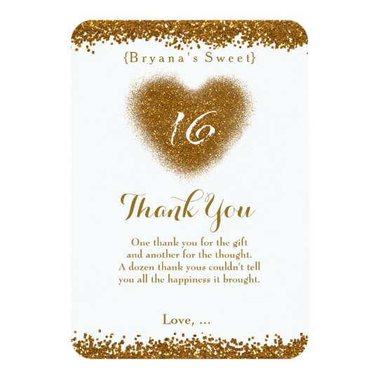 Gold Glitter Spill Sweet 16 Heart Thank You