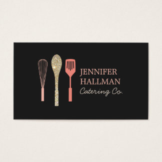 Gold Glitter Spoon Whisk Spatula Bakery Logo I Business Card