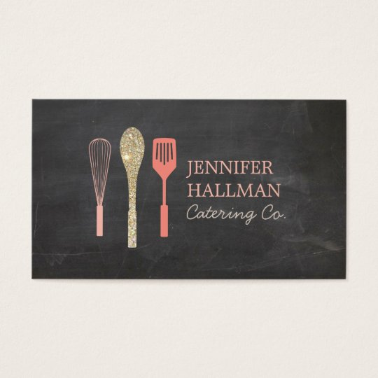 Gold Glitter Spoon Whisk Spatula Bakery Logo II