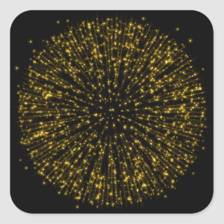 Gold Glitter Starburst Sunburst Firework Sparkle Square Sticker