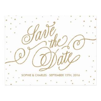 Gold Glitter Stars Fancy Save the Date Postcard