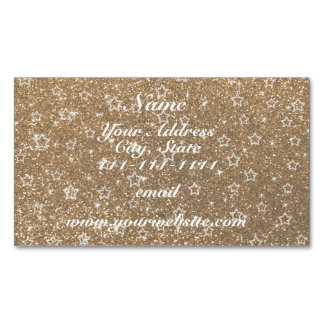 Gold glitter stars magnetic business cards