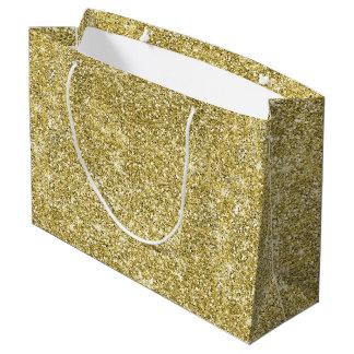 Gold Glitter Stars Modern Large Gift Bag