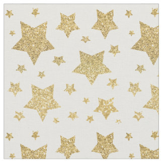 gold glitter stars pattern fabric