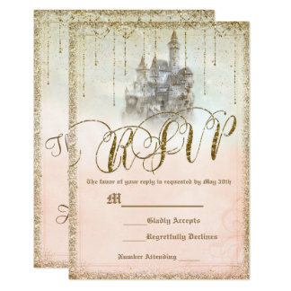 Gold Glitter Storybook Castle Wedding RSVP Reply Card