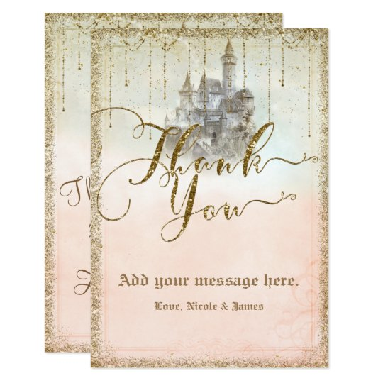 Gold Glitter Storybook Castle Wedding Thank You Card
