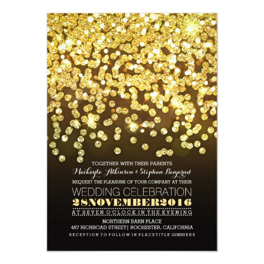 gold glitter string lights glam wedding invitation
