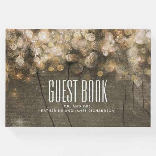 Gold Glitter String Lights Rustic Wedding Guest Book
