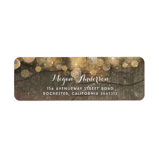 Gold Glitter String Lights Rustic Wedding Return Address Label