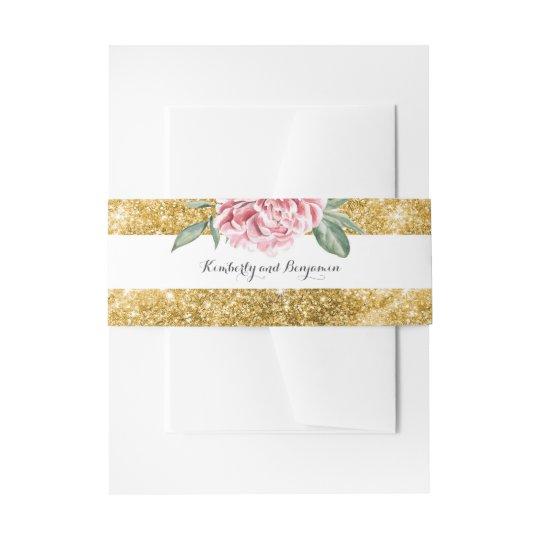Gold Glitter Stripes and Pink Flower White Wedding