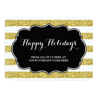Gold Glitter Stripes Christmas Cards Business