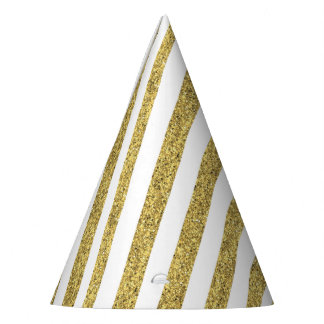 Gold Glitter Stripes Party Hat