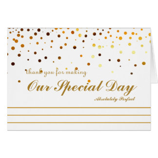Gold Glitter Stripes Thank you for special day Card