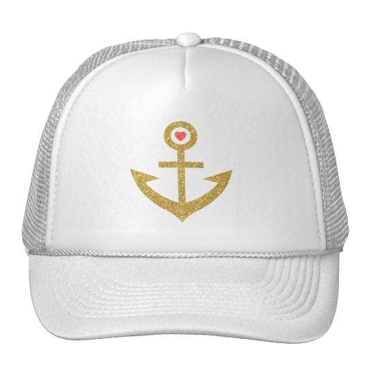 Gold Glitter Stylised Nautical Boat Anchor Cap