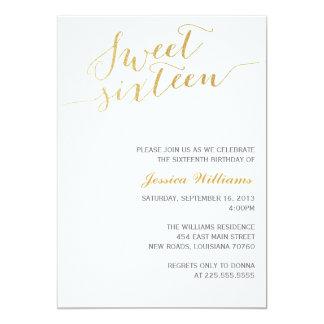 Gold Glitter Sweet Sixteen 13 Cm X 18 Cm Invitation Card
