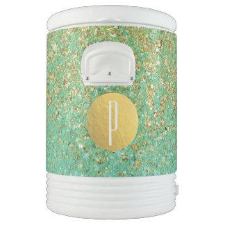Gold Glitter & Teal Aqua Beachy Girly Trendy Glam Drinks Cooler