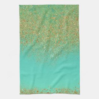 Gold Glitter & Teal Aqua Modern Girly Trendy Glam Tea Towel