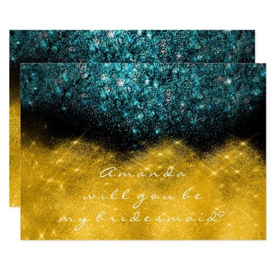 Gold Glitter Teal Ocean Confetti Wow Bridesmaid Card