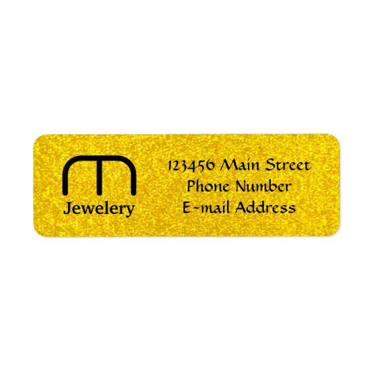 Gold glitter texture return address label