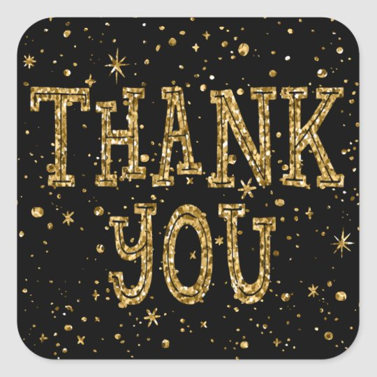 Gold Glitter Thank You (Changeable Black Colour) Square