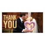 Gold Glitter Thank You Overlay Photo Cards