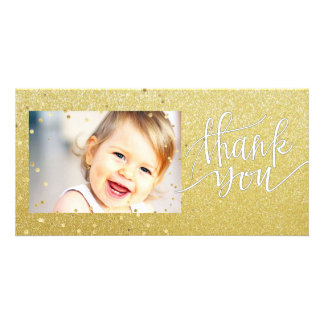 gold glitter thank you photo cards