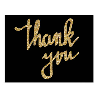 Gold Glitter Thank You Typography Script Postcard